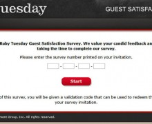 Ruby Tuesday Customer Feedback Survey