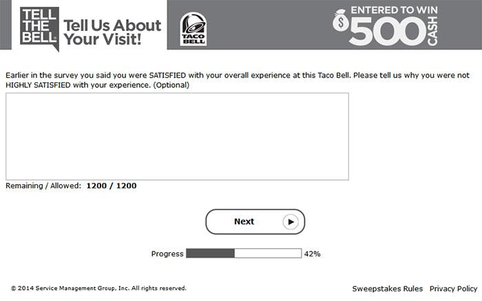 Taco Bell Customer Satisfaction Survey 7 Customer