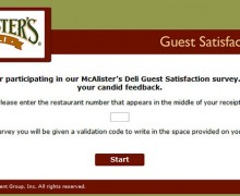 McAlister's Guest Satisfaction Survey