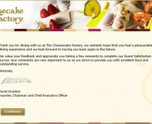 The Cheesecake Factory Guest Satisfaction Survey