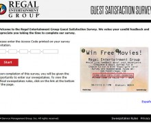 Regal Entertainment Group Guest Satisfaction Survey