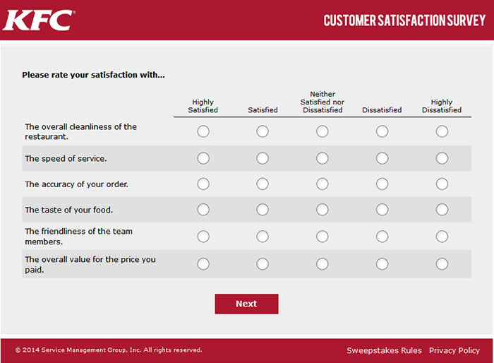 Kfc customer satisfaction survey 4 for Restaurant customer satisfaction survey template