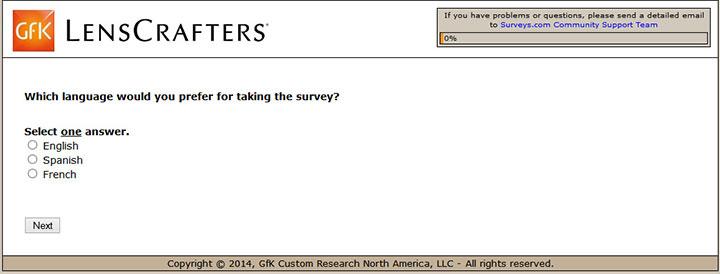 Lenscrafters online survey